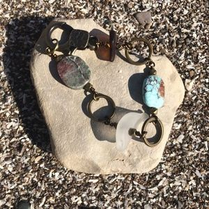 Authentic Lake Erie beach glass brass bracelet